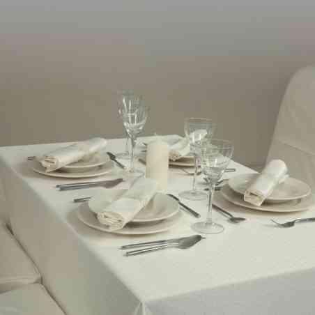 Faţă masă  Damasc model Topo Crem 150x150 cm